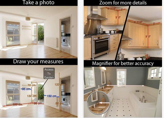 (Photo Measures)  Es muy útil para guardar medidas y su uso es tan sencillo como tomar una simple fotografía. Fue desarrollada tanto para iPhone como para iPad o iPod Touch y sistema Android.