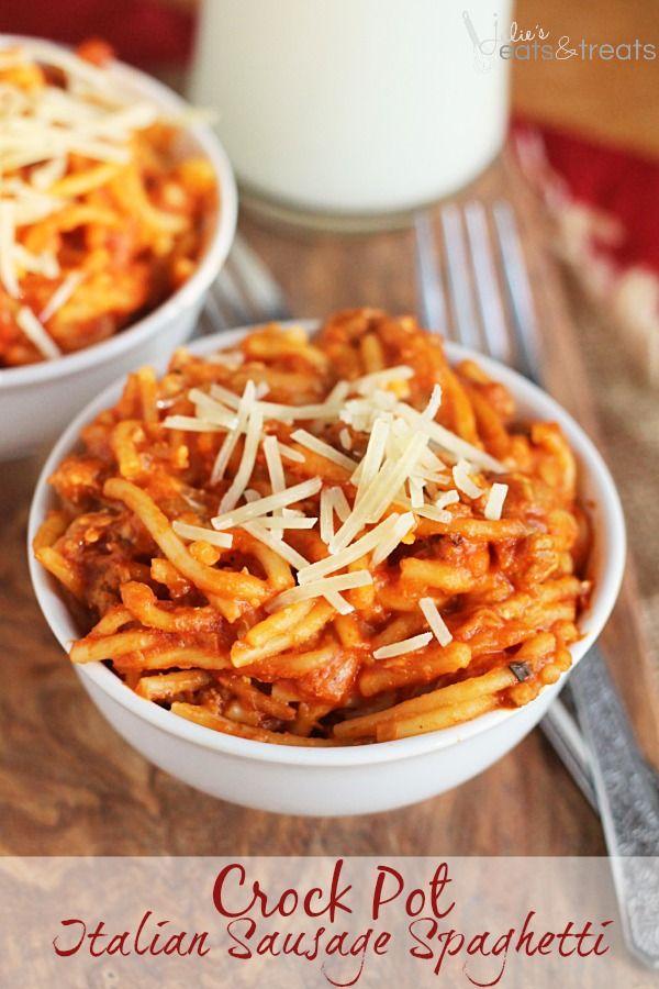Crock Pot Italian Sausage Spaghetti ~ Creamy Spaghetti Loaded with Spicy Italian Sausage!