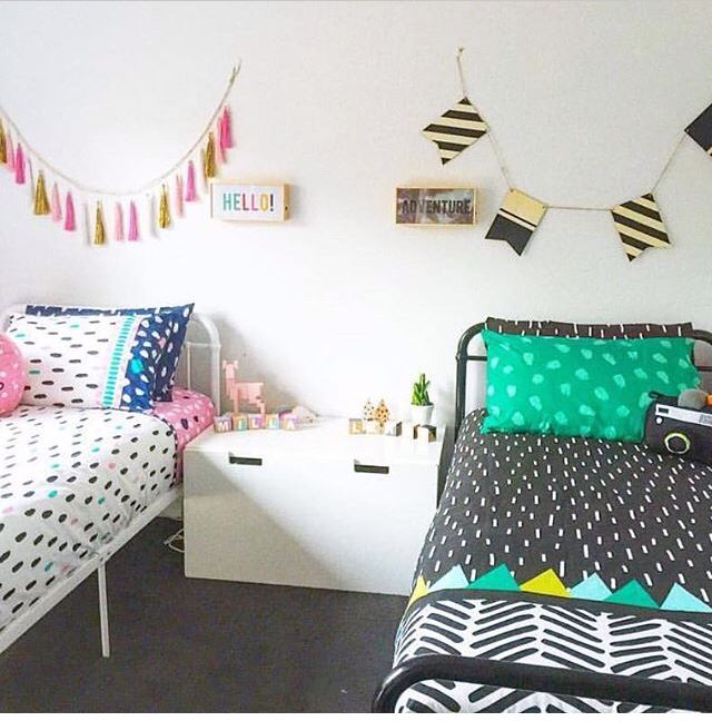Boy / Girl shared room. (Mostly styled from Kmart Aus) #twins #boygirl