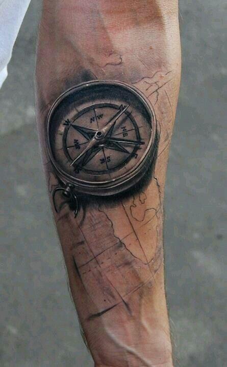 Compass/World map tattoo
