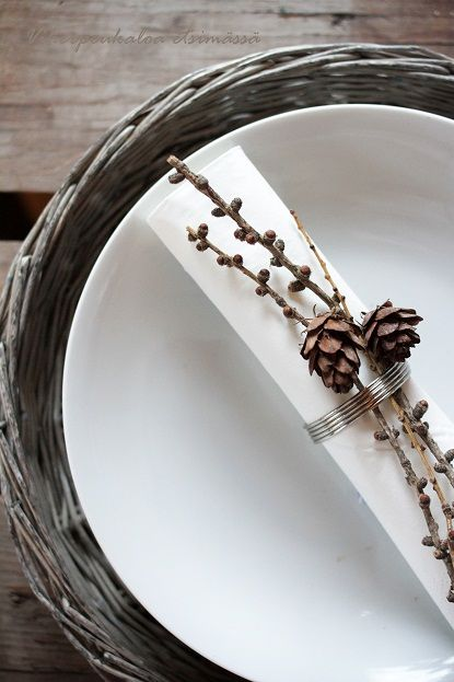DIY Wedding Table Settings - with mini pinecones for a forest theme