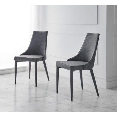 Silla tapizada FLORA con la estructura y las patas de acero reforzado de 1,2 mm. La espuma es HR de 30 kg. de densidad. Disponible en gris en dos tonos. Una silla muy robusta y elegante.  Las medidas son: 49 cm. de ancho x 59 cm. de fondo x 91 cm. de altura. La altura del asiento es 47 cm. El peso de cada silla es de 7,5 kg.