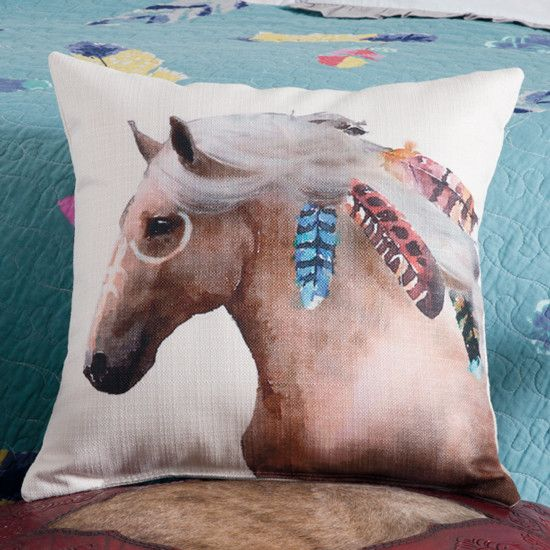 Horse Feathers Pillow- This Rod's exclusive palomino horse ponders into the distance as the wind flows through its mane, adorned in colorful feathers.