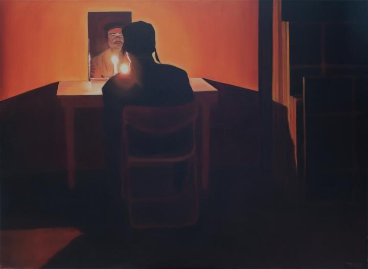 Fehér László, Önarckép tükörrel és gyertyával, 2004, Olaj, Vászon