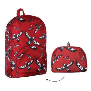 "AVM Museum Shop:  Foldable backpack with Eagle design by Haisla, Heiltsuk artist Mervin Windsor.  Backpack: 43 x 30.5 x 10cm [17x12x4""], can carry up to 20kg; folds to 23 x 18 x 2.5cm [9x7x1""] pouch."