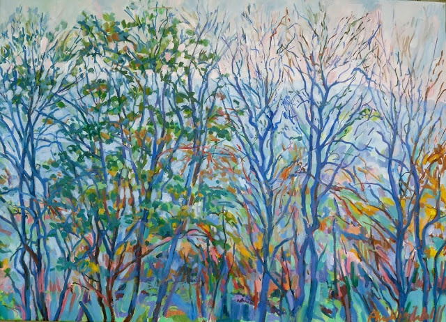 Dorset Hills through trees 60 x 90, not quite finished!