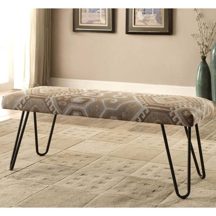Mid-Century Modern Southwestern Print Living Room Accent Bench with Hairpin Legs