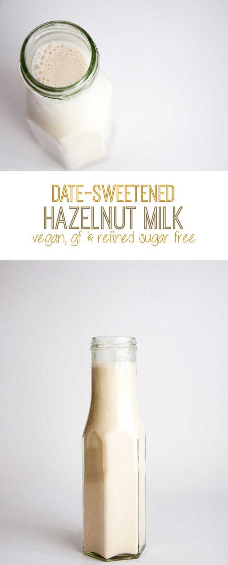 Date-Sweetened Hazelnut Milk #vegan #hazelnut #glutenfree #refinedsugarfree | ElephantasticVegan.com