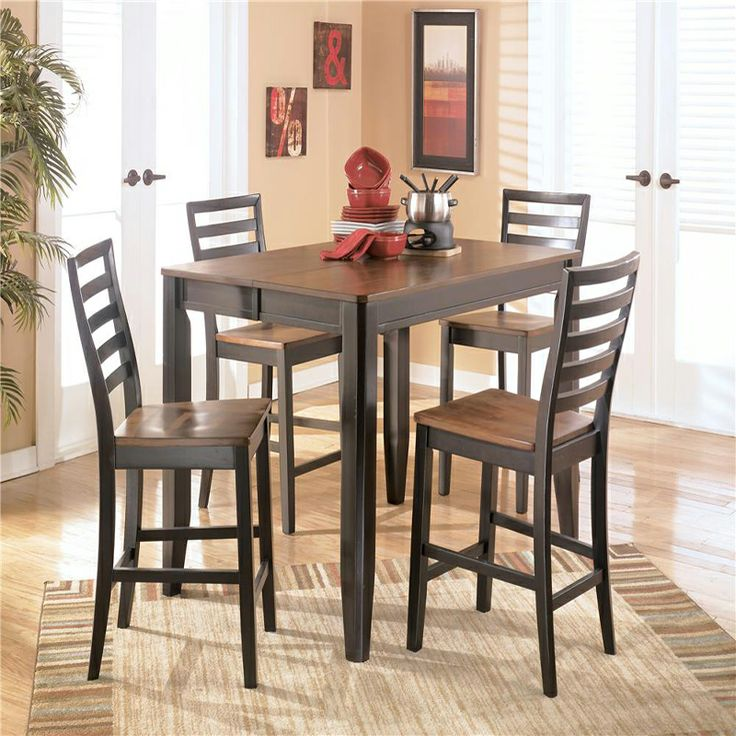 Counter Height 5 Piece Dining Set Signature Design Alonzo Table