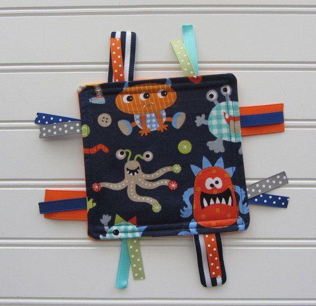 Crinkle Toy - Baby Boy - Grey, Aqua, Orange Monsters, Teal or Orange Fleece Back Sensory Ribbon Crackle Toy, Favorite Baby Toy by littledottiebliss on Etsy