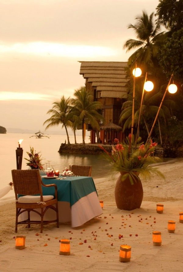 Picturesque romantic location inspired candlelight sunset sea sand flowers mussels idea Palms