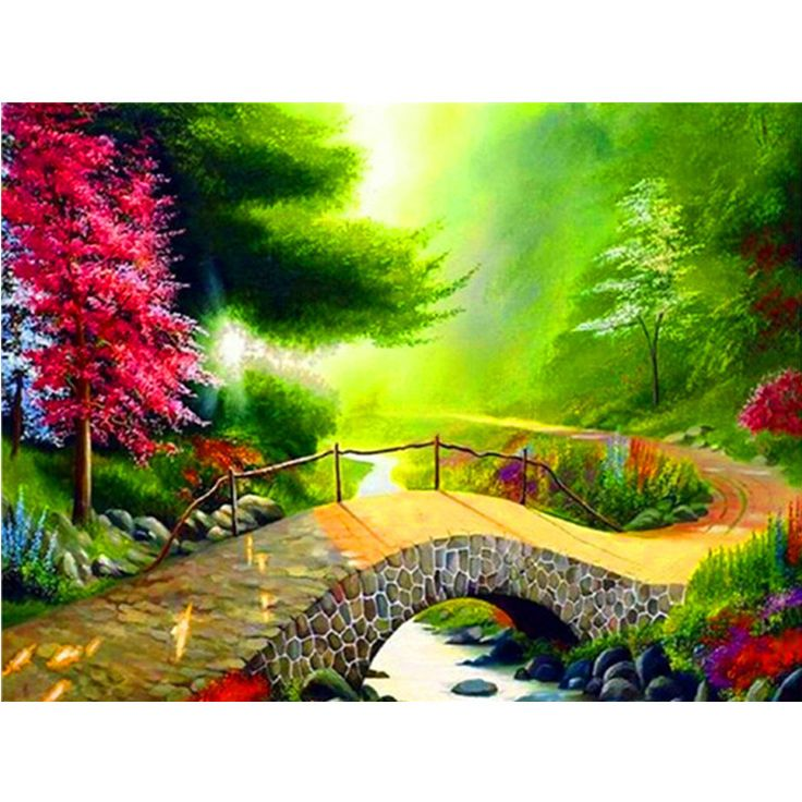 Mountain bridge Pattern Diamond Embroidery DIY Needlework Diamond Painting Cross Stitch full Rhinestones Painting Home Decor guest room -*- AliExpress Affiliate's buyable pin. Find similar products on www.aliexpress.com by clicking the image