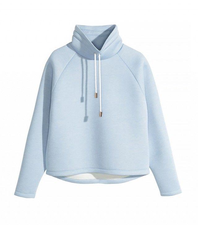 H&M Chimney-Collar Top in Light Blue