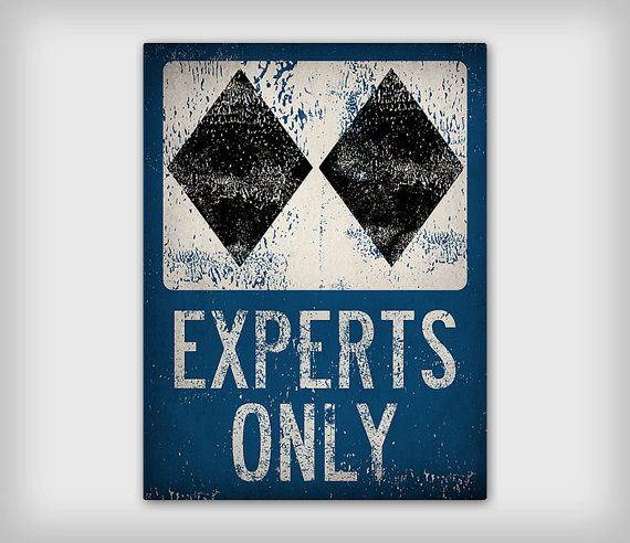 EXPERTS ONLY Black Diamond Ski Snowboard Sign Graphic Stretched Canvas Ready-To-Hang You Choose