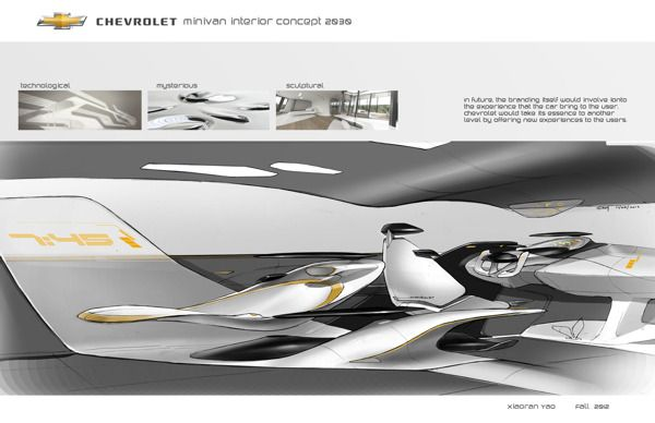 Chevrolet Minivan Interior Concept 2025 by Xiaoran Yao, via Behance