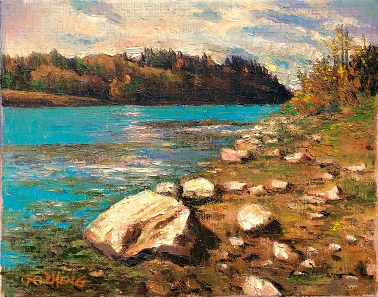 17 images about oil landscape paintings by gq zheng on for Landscaping rocks canada
