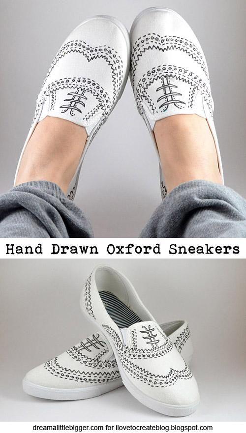 DIY Shoes : DIY Hand Drawn Oxford Sneakers