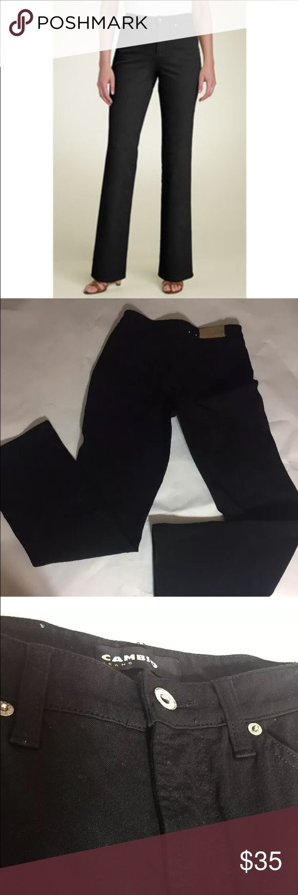 "Cambio Jade Black Twill Stretch Jeans SZ 6 EUC Cambio black Jade jeans. Bi-stretch twill for comfort. Slight boot cut.  Size 4. Excellent used condition. Color in tact. Clean. No signs of wear expect slight fading in the hem of pants. Unnoticeable. See photos.   Approximate measurements- Waist: 27"" when doubled.  Front Rise: 9"" Inseam: 34.5"" Back Rise: 13"" Outseam: 41"" 4 pockets.  5 Belt loops. Made in Poland.  Designed to be a close fit. Recommended ordering 1 size up than your usual size…"