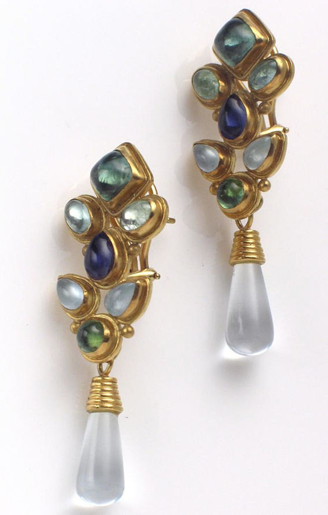 A pair of semi-precious and eighteen karat gold earrings each earring set with assorted bezel-set semi-precious cabochons of various shapes and sizes, including iolite and moonstone, suspending a detachable moonstone drop.
