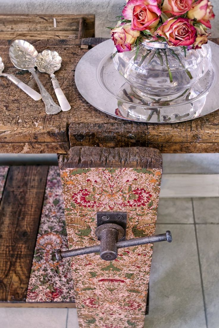 Original vintage iron vise and handsprayed design on 1940s vintage work bench. Reclectic Art Furniture blends modern technology with art history heritage and classic design to create pixilated William Morris patterns on vintage furniture.