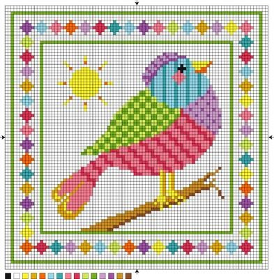 This funky patchwork bird is the perfect spring stitch. It's a freebie for needlepoint