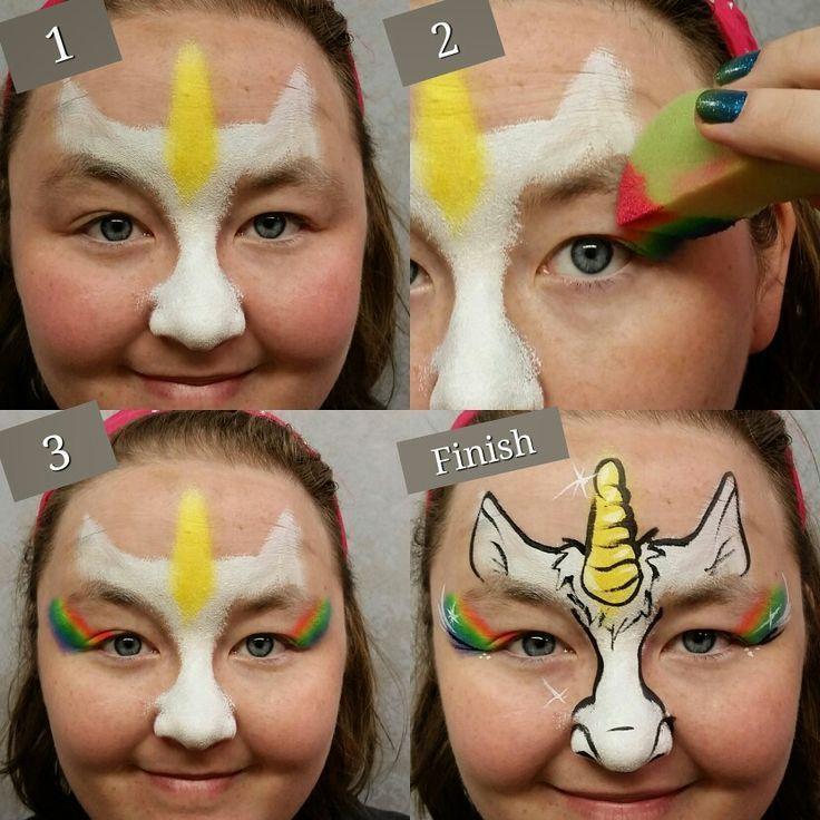 Bildergebnis Fur Das Schminken Schritt Fur Schritt Kinderschminken Einhorn Einfache Gesichtsmalerei Bemalte Gesichter