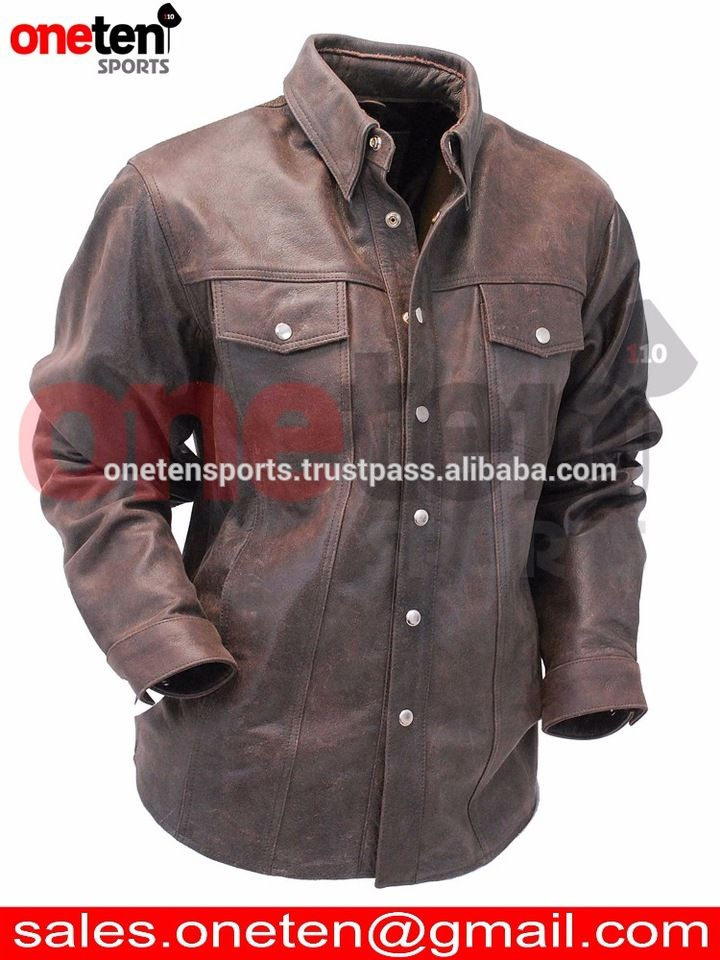 Men's leather shirt / Jean Style Rich Brown Leather Shirt