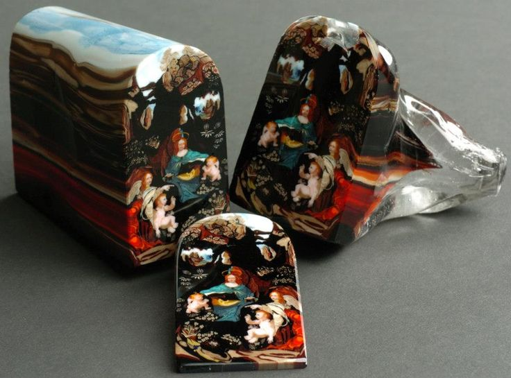 """This is a glass """"murrine"""" made by artist Loren Stump. Each color in the piece was carefully layered to create this """"loaf"""" which was then sliced. Each slice sold for $5000."""