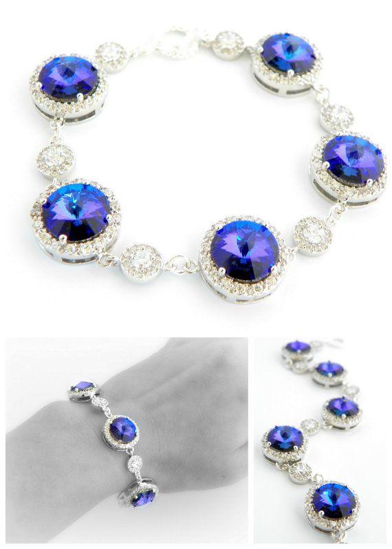 Purple Wedding Bracelet Heliotrope Swarovski by EstyloJewelry
