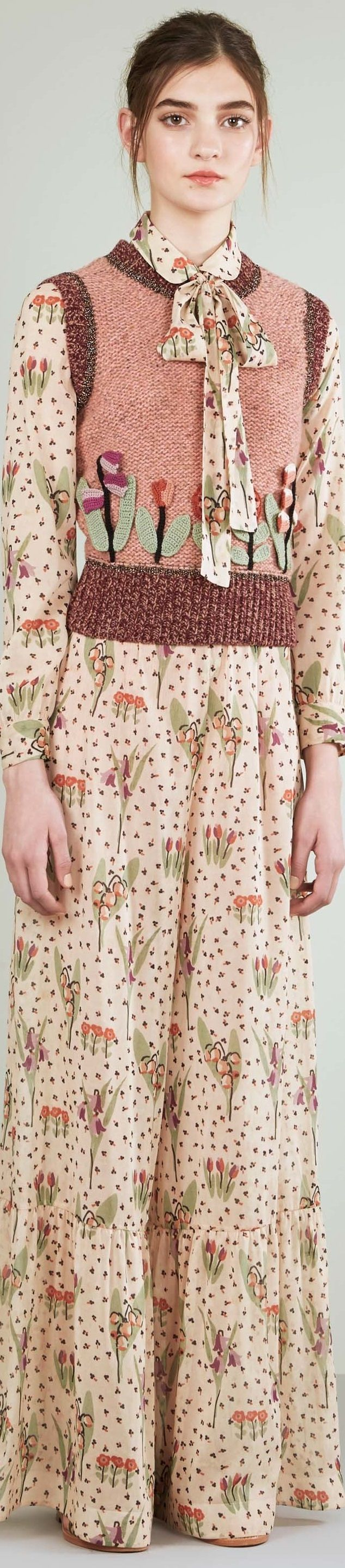 Red Valentino resort 2017. This collection had a few truly special ones, including a gauzy hummingbird print with velvet bows at the shoulders and another wisp of a thing embroidered with lilies of the valley.