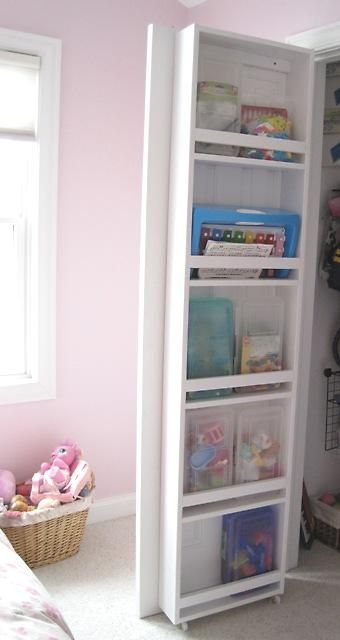 Door storage: Door Storage, The Doors, Extra Storage, Closet Doors Storage, Storage Ideas, Closet Storage, Pantries Doors, Doors Shelves, Kids Rooms