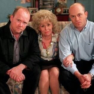 Phil, Peggy and Grant Mitchell played by Steve McFadden, Barbara Windsor and Ross Kemp.