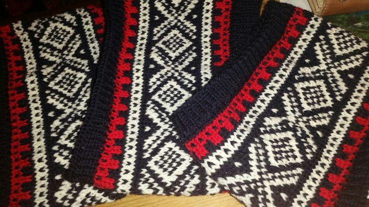 Marius pannebånd. Headband knitted in Marius pattern