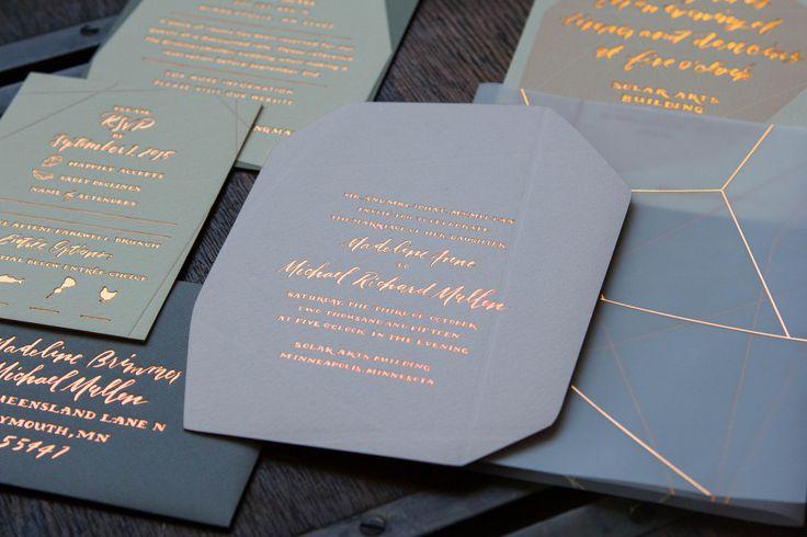 A Geometric and Feminine Rose Gold Wedding Suite - Ladyfingers Letterpress