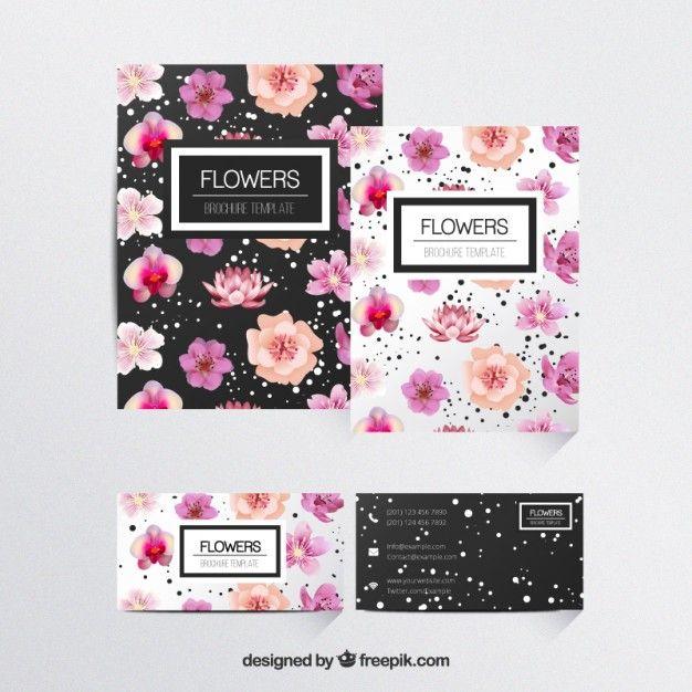 花のパンフレットテンプレート 無料ベクター                                                       …