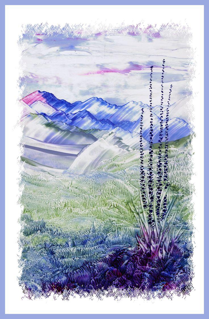 Berglandschap geschilderd met bijenwas door Beika Kruid
