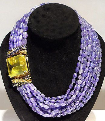 Iradj Moini Designer Huge Citrine Pendant Tanzanite Bead Necklace