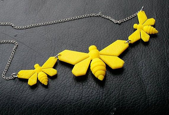 3D Printed Bee Necklace by TheCoconutRobot on Etsy
