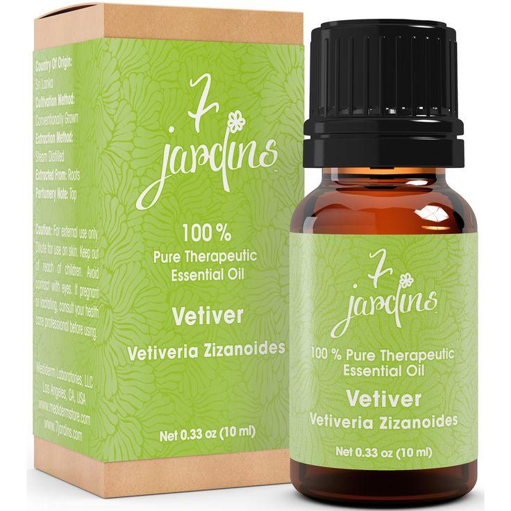 7 Jardins Vetiver Therapeutic Grade Essential Oil - Vetiveria Zizanoides (100 % Pure, Natural, Antiseptic, Anti-Inflammatory, Aphrodisiac, & Sedative)