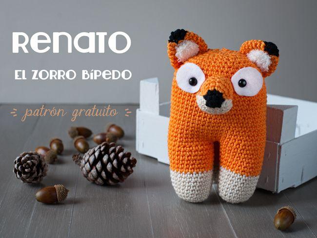 El zorro bípedo Renato - Patrón gratuito amigurumi