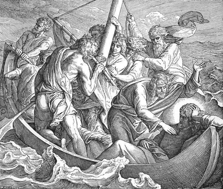 Bilder der Bibel – Jesus schläft im Sturm – Julius Schnorr von Caro …   – Christliche Zeichnungen