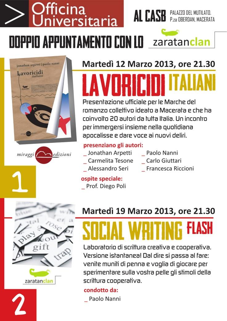 """Macerata attende """"Lavoricidi italiani"""": la tragedia del lavoro raccontata da sei dei 20 autori."""