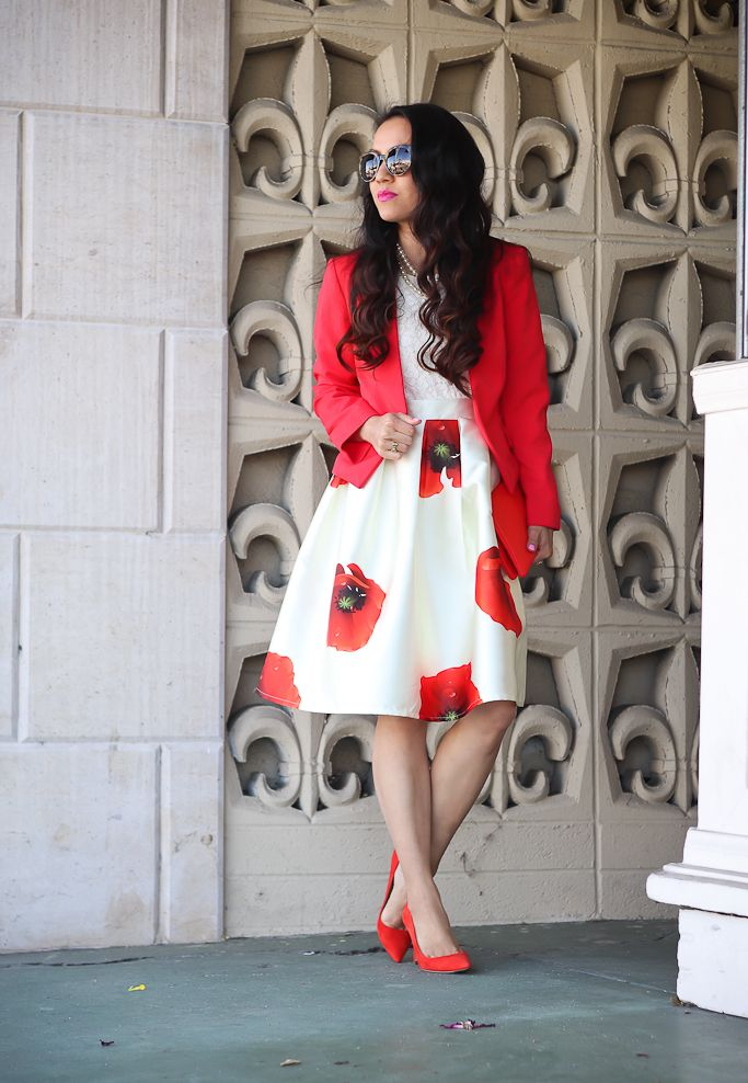 Dreaming of Hana A-line Skirt, collarless red blazer, red pumps, spring outfit, poppy print skirt, petite fashion, red foldover clutch, wedding outfit idea, summer outfit, work outfit- click the photo for outfit details!