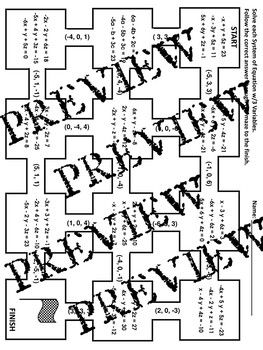 Systems of Equations with 3 Variables Elimination Maze Worksheet ...