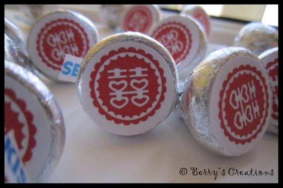 Wedding Chocolate Hershey Kisses. Asian by BerrysCreations on Etsy