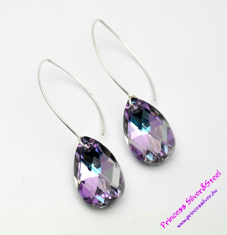 Lila kristályos exkluzív fülbevaló. Részletek: www.princessilver.hu