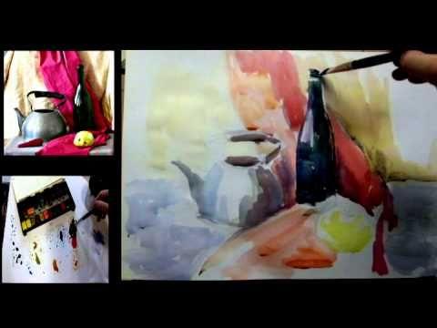 Рисуем учебный натюрморт акварелью в цвете