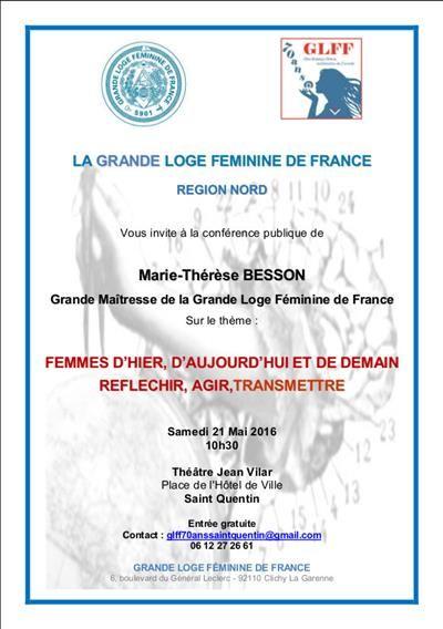 GLFF Région Nord : 2 conférences avec Marie-Thérèse BESSON