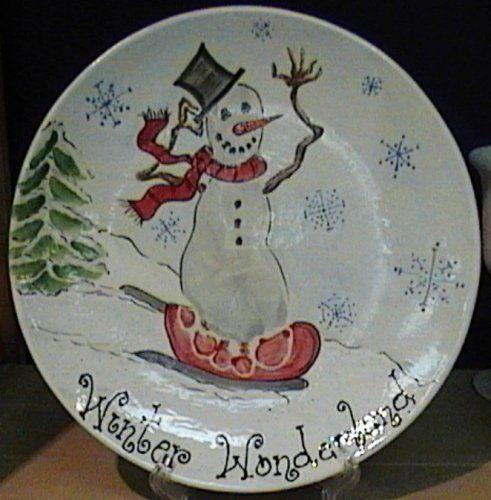Snowman for Handprint ceramic plate ideas