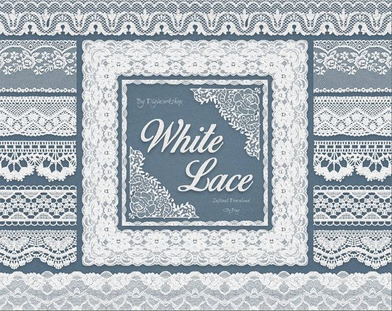 "Digital White #Lace #border clip art - ""White Lace borders"" #clipart with digital white lace border images, very suitable for cards and scrapbooking!  * You will receive:   - ... #etsy #digiworkshop #scrapbooking #illustration #creative #printables #cardmaking"
